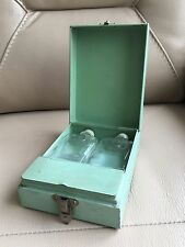 Vintage Retro c 1940s WW2 Green Enamel Bakelite Men's Grooming Shaving Set Box