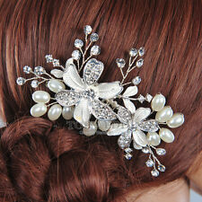 Beige Jewelry Bridal Crystal Hair Comb Pin Clip Wedding Party Hair Accessory