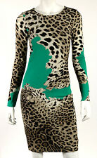ROBERTO CAVALLI Jade & Leopard Print Jersey Long Sleeve Sheath Dress 38