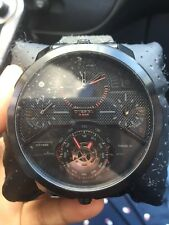 Diesel Machinus 4 Timezone Dial Black Fabric Strap Mens Watch DZ7358