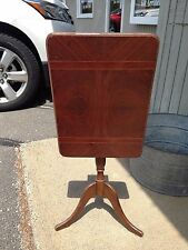 Vintage Antique Art Deco Mahogany Wood Table with Inlay Tilt Top Free Ship