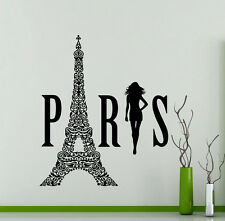 Paris Logo Wall Decal Eiffel Tower Fashion Girl Vinyl Sticker Home Mural (210xx)