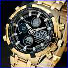 New Mens Gold Digital Analog Sports Wrist Watch Dual Time Quartz Army LCD LED