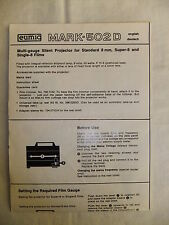 Instructions cine projector EUMIG MARK 502D - CD/Email
