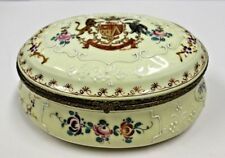 ANTIQUE FRENCH PORCELAIN  HAND PAINTED  JEWELRY BOX  with COAT OF ARMS