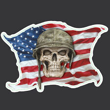 USA FLAG SKULL HELMET  MORALE MILITARY CAR VEHICLE WINDOW DECAL HELMET STICKER