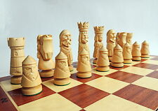 NEW LUXURY HANDMADE CARVED CASTLE WOODEN CHESS SET 59cm GIFT IDEA