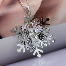 Fashion Women's Silver Snowflake Dangle Pendant Necklace Jewlery Gift