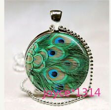 Peacock feather Cabochon Tibetan silver Glass Chain Pendant Necklace #576