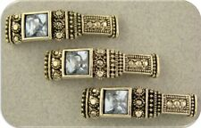 Beads Marcasite Pattern Bars w/Square Light Blue Rhinestone 2 Hole Sliders QTY 3
