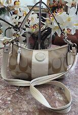 COACH F17439 Signature Beige Stripe Demi Hobo Cross-body Hand-bag EUC