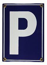 Emaille Schild Parkplatz (P) Verkehrsschild Hinweisschild 17x12cm Blech Metall