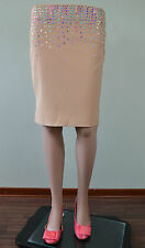 Womens Vtg Evening Formal Pencil Bodycon Sequin Embellished Knee Skirt sz 10 Q83