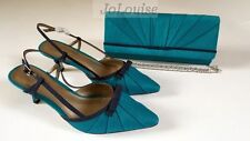 New Jacques Vert Shoes & Bag ~ Size 7 /40 ~Navy & Turquoise Blue Slingbacks