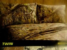 New 4 pc CAMO~QUEEN SHEET SET~Fishing~Hunting Cabin~LODGE Brown Tans camouflage
