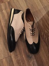 NEW POLO RALPH LAUREN JOHNSLY TWO TONE WINGTIP SHOE BLACK IVORY LEATHER 9.5D