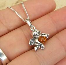 Cognac Baltic Amber 925 Sterling Silver Cherub Angel Pendant Necklace