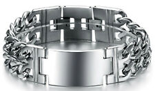 Heavy Wide Polished Stainless Steel ID Double Curb Men's Bracelet US Seller
