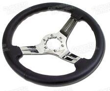 68-82 Corvette Black Steering Wheel NEW Leather Chrome 3 Spoke X2502