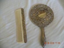 Antique Repousse Ornate Silverplate Dresser Mirror and Comb Set
