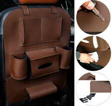 Car Seat Back Bag Organizer Storage Cup iPad Phone Holder Pocket Leather Brown