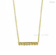 18k Yellow Gold Pave Diamond Bar Pendant Necklace Fine Diamond Women Jewelry
