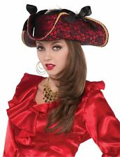 Pirate Hat Ladies Red & Black Lace with Bows Fancy Dress Costume Accessory