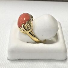 Elegant 18KY Gold OVAL SHAPED CABOCHON CUT GENUINE Orange CORAL RING size 6 1/2