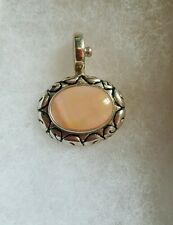 JOSEPH ESPOSITO 925 STERLING PINK/PEACH MOTHER OF PEARL OVAL SNAP PENDANT-MINT.