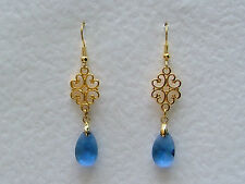 LACY FILIGREE VICTORIAN STYLE LIGHT BLUE GLASS CRYSTAL GOLD PLATED EARRINGS