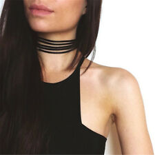 2016 Hot Fashion Black Leather 5 Layers Choker Necklace For Women Girls Jewelry