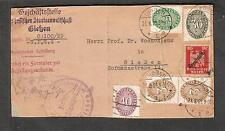 Germany 1929 Briefstempel mounted cover piece Gleben to Prof Woenckhaus in city
