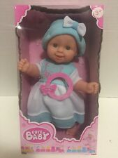 """Cute Baby My First Lovely Baby 11"""" Vinyl Crying & Talking Baby Blue Dress Doll"""