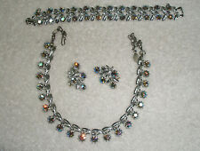 Gorgeous Vntg Parure Silvertone Lt Blue Aurora Rhines Necklace Bracelet Earrings