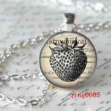 Vintage Cabochon Tibetan silver Glass Chain Pendant Necklace Strawberry word Y87