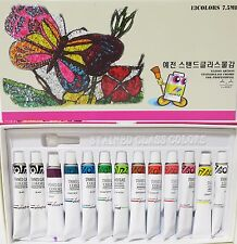 Yejeon  Stained Glass Paint 12 colors 13Tubs set   7.5ml Glass Painting kit