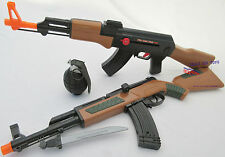 2x Toy Guns M1 Carbine Toy Rfile & Friction AK-47 Toy Machine Gun Toy Grenade