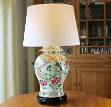 Very large fat temple jar chinese lamp Wooden stand New shade Pair available