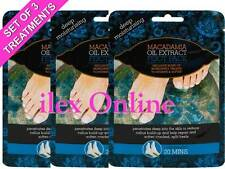 3 x MACADAMIA OIL EXTRACT DEEP MOISTURISING FOOT PACK TREATMENTS ~ CRACKED HEELS