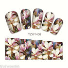 Nail Art Water Decals Wraps Summer Flowers Floral UV Tips Decoration Gel Polish