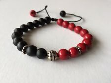 SNOWFLAKE JEWELLERY STERLING SILVER, RED OAK WOOD AND ONYX ADJUSTABLE  BRACELET