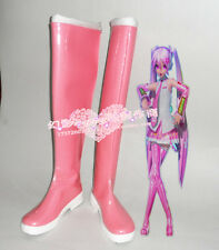 Vocaloid Hatsune Miku Sakura Halloween Pink Long Cosplay Boots Shoes H016