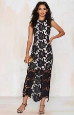 NWT $280 Keepsake True Love Crochet Lace Maxi Dress Black Sz XS Nastygal