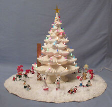 "HUGE VINTAGE ATLANTIC MOLD LIGHT UP CERAMIC CHRISTMAS TREE SKIRT COVER 22"" SNOW"