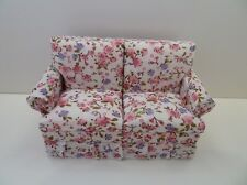 Dolls House Miniature 1.12 Scale Lounge Furniture Floral Pink Pattern Sofa