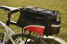 Rockbros Bike Rear Carrier Bag Bicycle Rear Pack Trunk Pannier Black Red Bag
