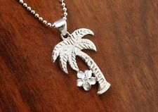 Hawaiian Jewelry 925 Sterling Silver PALM TREE PLUMERIA Pendant Necklace SP55601