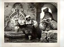 Stampa antica ROMA Pastori con asino alla fontana campagna romana 1876 Old print