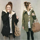 Women Thick Fleece Warm Long Jacket Zip Hooded Parka Winter Coat Overcoat