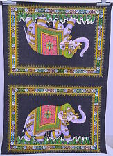 Indian Mandala Elephant Wall Hanging Poster Ethnic Tapestry Cotton Fabric Throw